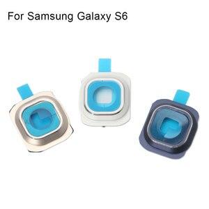 Image 5 - 1 комплект Задняя крышка объектива камеры стеклянная крышка с рамкой держатель для samsung Galaxy S6 запасные части