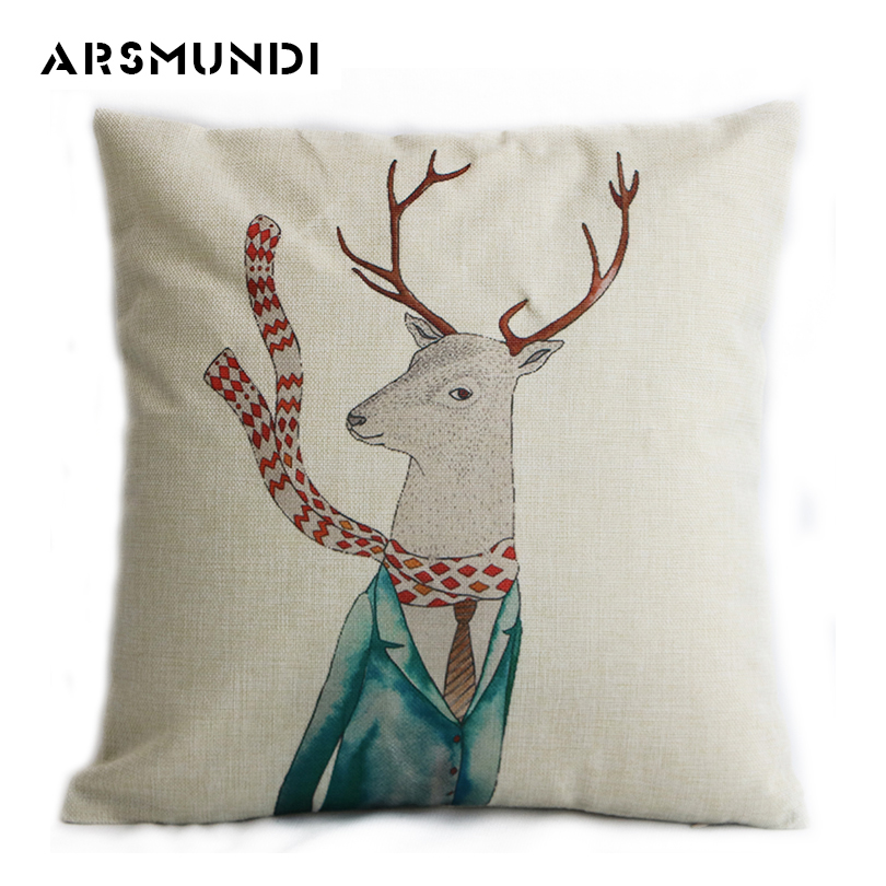 Animal fashion deer linen cushion cover reindeer giraffe sika Deer Cotton Linen Pillowcase Decorative Cushion Cover Use For Home
