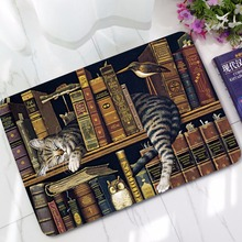 CAMMITEVER Cat Doormats Carpet Bedroom Non Slip Cat with Books Mat Area Rugs Carpets Bathroom Door Mat Toilet Tapete Alfombras