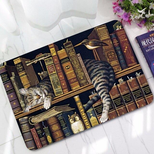 CAMMITEVER Cat Doormats Carpet Bedroom Non Slip Cat with Books Mat Area Rugs Carpets Bathroom Door Mat Toilet Tapete Alfombras