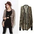 Женщины леопарда летучая мышь топ Dolman болеро кабо-пальто верхняя одежда LM7993