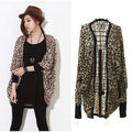 Women\'s Leopard Batwing Top Dolman Bolero Cape Coat Jacket Outerwear LM7993