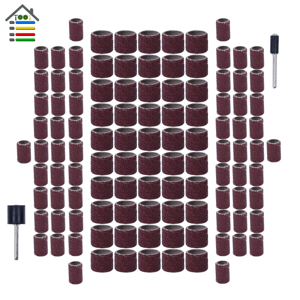 102 Pc Rotary Sanding Drum Kit W// Mandrels 1//2 3//8 1//4 Sanding Bands Fits Dremel