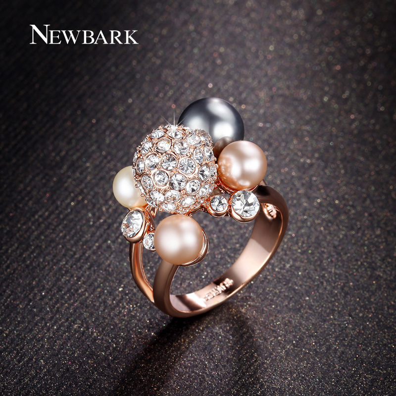 NEWBARK Rose Gold Color Simulated Pearl Crown Rings For Women Lovely Ball Shaped Rhinestones Ring Party Jewelry Anel