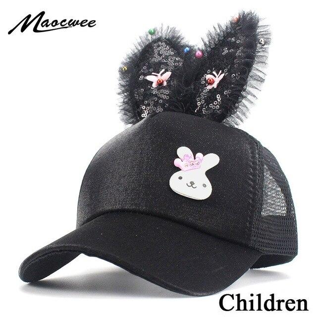 f5843521543 Spring Summer Children Baseball Cap Girls Snapback Hip Hop Caps Rabbit Ear  Sequins Kids Mesh Sun
