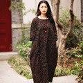 SCUWLINEN Vestidos 2017 Лето Dress Винтаж Печати С Длинным Плюс Размер Белье Dress Случайные Свободные Печати Халат Женщины Party Dress