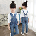 Child denim bib pants 2016 spring and autumn male female child children's clothing child cartoon suspenders jeans trousers