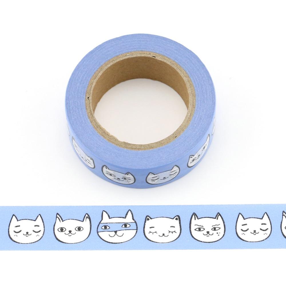 1pc cute cats emoji Decorative Washi Tape Paper DIY Scrapbooking Adhesive Tape 10m School Office Supply in Office Adhesive Tape from Office School Supplies