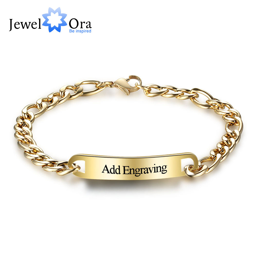 Personalized Id Braceles Engrave Name Promise Love Fashion Gold Color Bracelets Bangles For Women Men Jewelora Ba101851 In From Jewelry