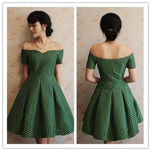 Green 50s style polka dot dress