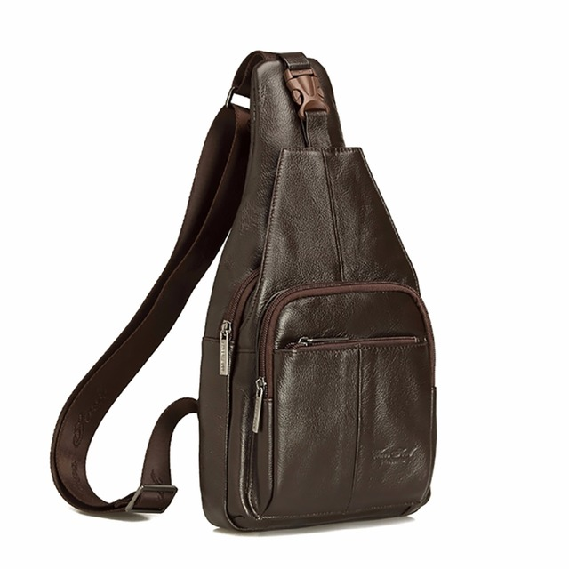 de9dea74aa37 Genuine Leather Cowhide Men Sling Shoulder Messenger Bag Vintage Trend  Cross Body Bags Male Single Chest Day Pack High Quality