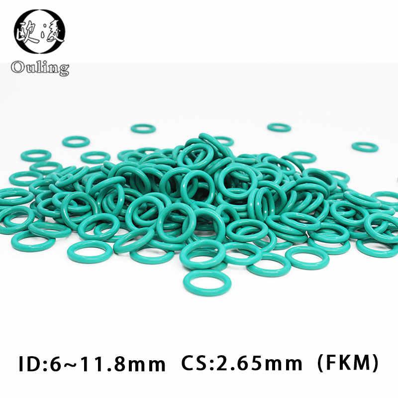 10 unids/lote caucho de flúor verde FKM sellar Oring 2,65mm de espesor ID6/7,1/7,5/8/8/5/9/10/10, 6/11, 2/11, 8mm de ORing junta de sellado