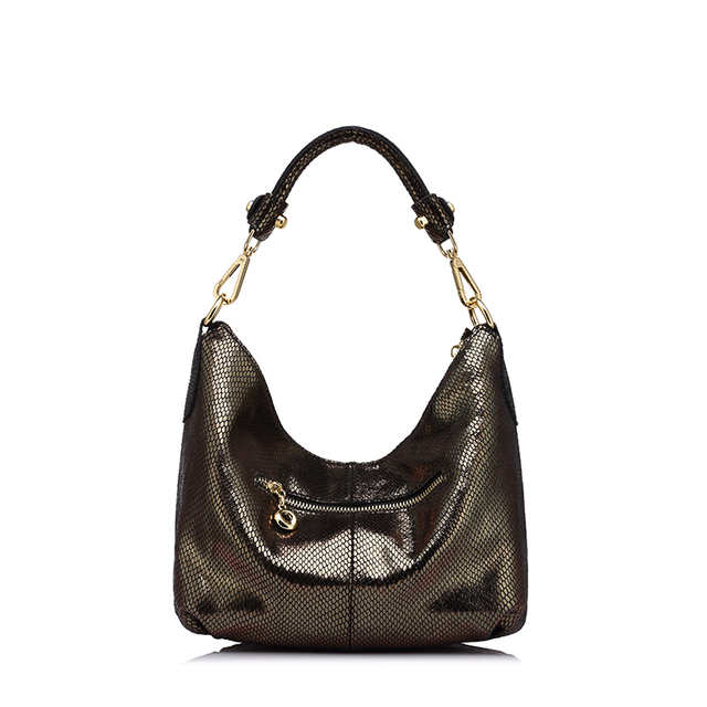 REALER brand women genuine leather shoulder bag serpentine pattern small handbag casual tote bag lady crossbody bag Gold/Silver