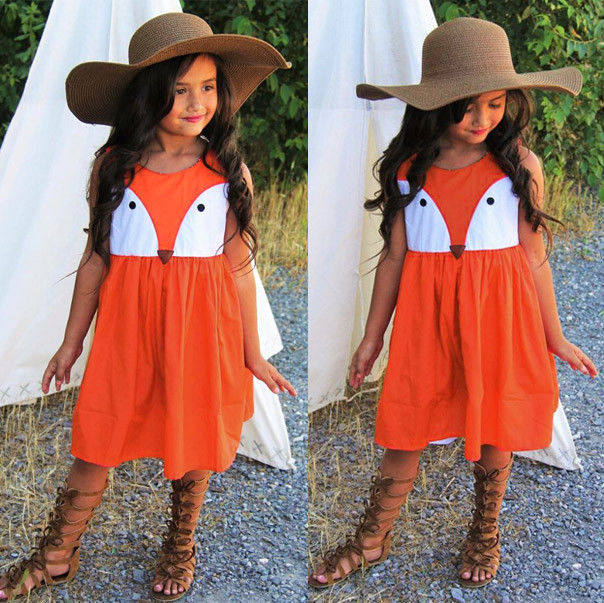 Online Shop 1-5Y Casual Baby Girls Toddler Kids Fox Dress Sleeveless ...