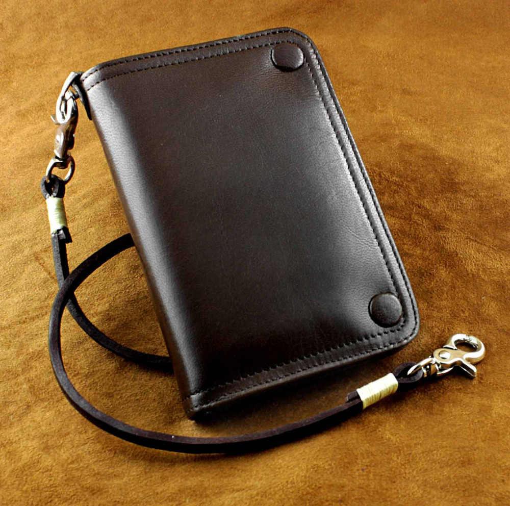 Байкер мото Мужская винтажная натуральная кожа короткий тонкий Байкерская цепочка кошелек