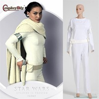 Cosplaydiy Star Wars Cosplay Padme White Dress Outfit Costume Adult Women Halloween Carnival Cosplay Clothes Custom Made J15