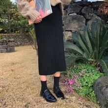 2 colors Elegant 2017 winter high waist knitted slim medium-long skirts womens (X708)