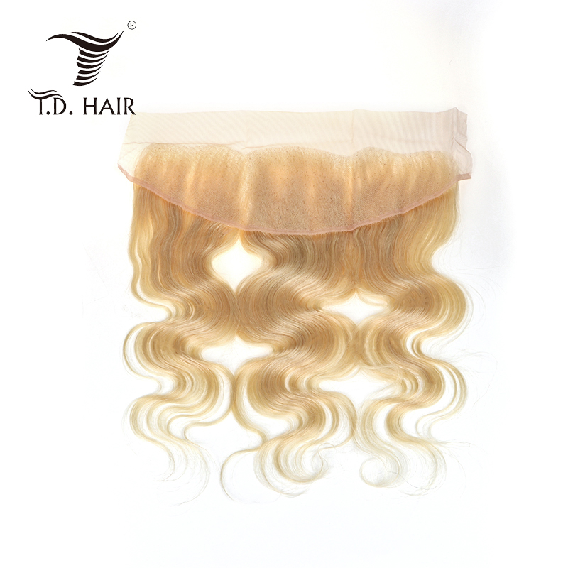 TD HAIR 613 Lace Frontal Closure Brazilian Human Hair Body Wave Frontal Non Remy Hair Blonde 13*4 Lace Closure No Smell