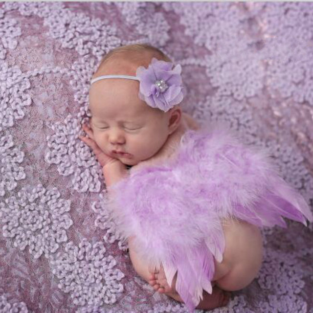 Newborn Laced Headband & Fuffly Angel Wings  2