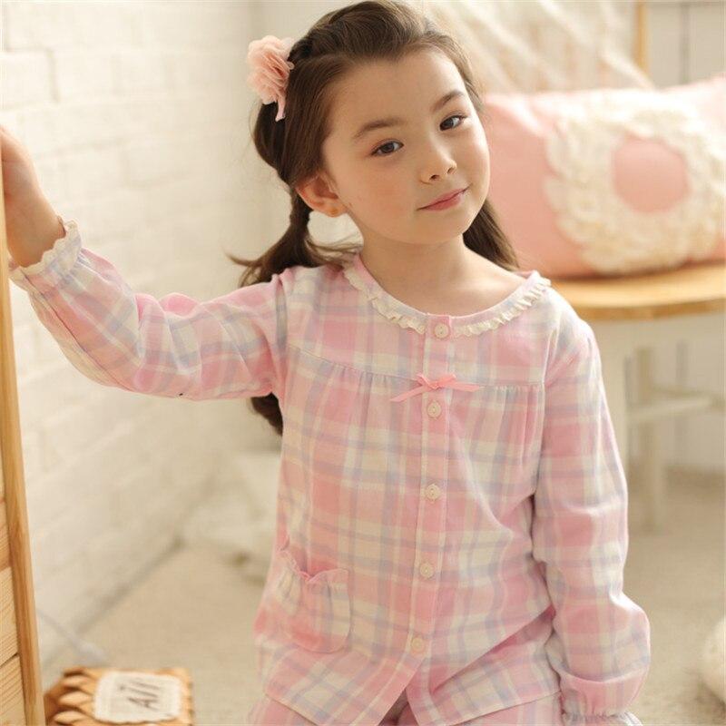 Plaid Simple Enfants de Pyjamas Enfants Filles Coton Gaze Printemps et Automne de Nuit De Nuit Pijama Infantil Bébé Fille Pyjamas Ensembles
