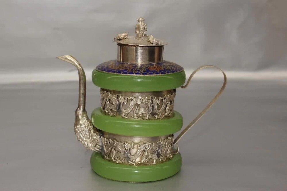 Collection Art décoration maison Pot artisanat, Tibet argent 3 vert jade bracelet théière/classique dragon théière cadeau