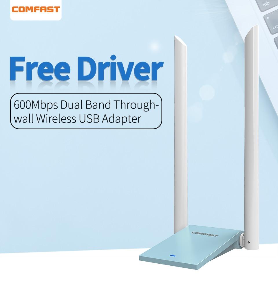 COMFAST CF-WU781AUSB 5 ГГц WiFi адаптер 600 Мбит/с USB 802.11ac адаптер междугородний Wifi приемник 2 * 6dBi антенны двухдиапазонный