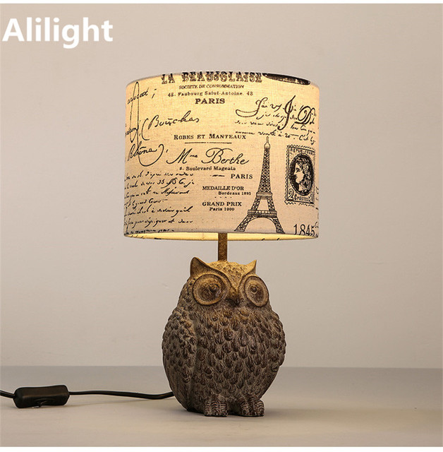 Vintage american personality style owl table lamp fashion fabric vintage american personality style owl table lamp fashion fabric resin bedside lamp desk light for living aloadofball Choice Image