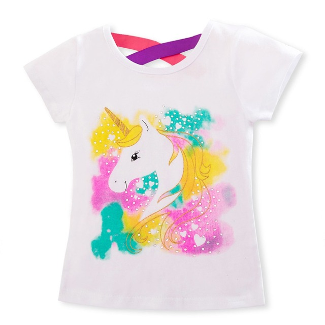 2019 Summer Fashion Unisex Unicorn T-shirt Children Boys Short Sleeves White Tees Baby Kids Cotton Tops For Girls Clothes 3 8Y 5