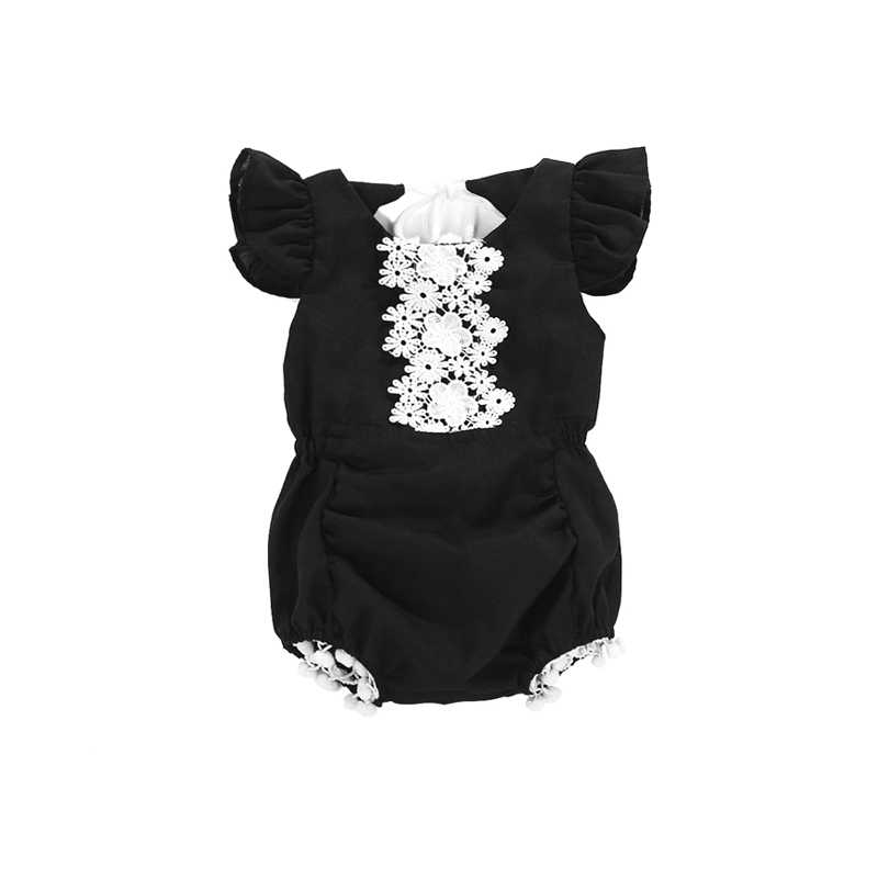 0-24M Cute Casual Newborn Toddler Baby Girls Cotton Short Sleeve O-Neck Lace Floral Tassel Black Bodysuit Outfit Summer Party