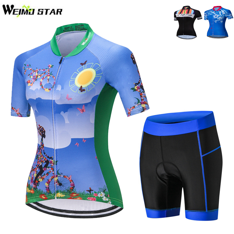 WEIMOSTAR Team Women Ciclismo Cycling Jersey Set Bike Cycling Clothing Short Sleeve Full Zipper GEL Breathable Pad Bike Clothing