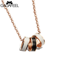 Fashion Exquisite Women Men Gold Plated Jewelry Black White Epoxy 3 Rings Pendant Clavicle Necklace Friendship