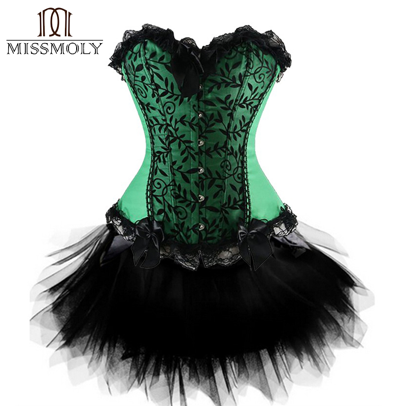 Women Steampunk   Corset   Top Satin   Corsets   And   Bustiers   Waist Trainer Skirt Dresses Body Shapewear Burlesque   Corset   Halloween