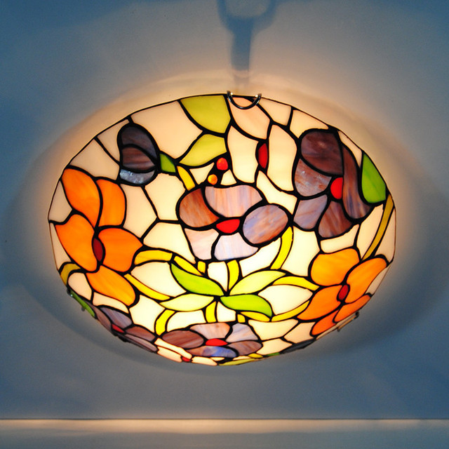 Us 109 99 E26 E27 Vintage Tiffany Flowers Stained Glass Flushmount Lighting Fixtures 12 Inch European Tiffanylamp Ceiling Light Lamp Cl329 In