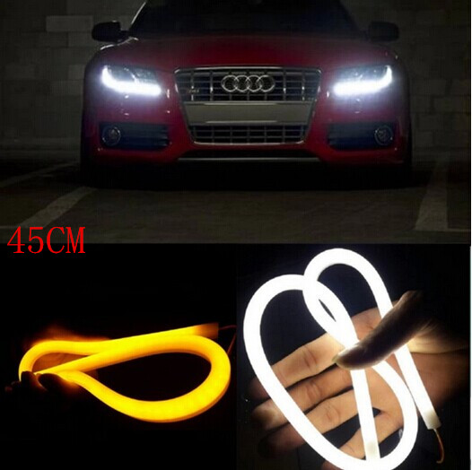 2x 45cm Daytime Running font b Light b font Universial Flexible Soft Tube Guide Car LED