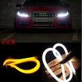 2x45 cm Daytime Running Luz Universial Guia de Tubo Macio E Flexível Car LED Strip DRL Branco e Amarelo Por Sua Vez a Luz do sinal