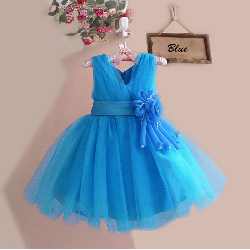 New 2018 baby girl dress vintage baby Christening dresses rose big bow girl party dress kids christmas clothing&children clothes