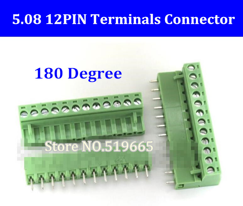 5.08 5.08mm 12pin 12-Pin Terminal Plug Type 300V 10A 5.08mm Pitch Connector Pcb Screw Terminal Block 180 Degree