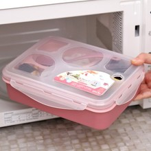 BF050 Fashion 5 in1 microwave lunch box with a spoon food container 21.5*15.8*6cm free shipping