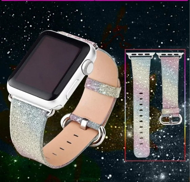 Goosuu natal brilhante poder glitter pu couro bling luxo banda pulseira de relógio de pulso strap belt para apple watch 38mm42mm iwatch