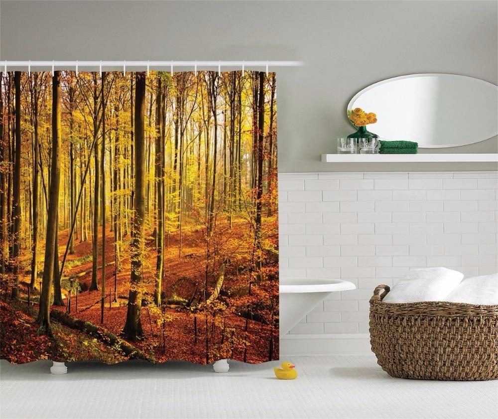 Orange camo curtains - High Quality Arts Shower Curtains Forest Series Camouflage Autumn Gold Leaf Bathroom Decorative Modern Waterproof Shower