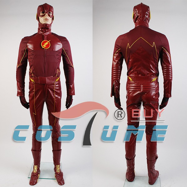 <font><b>The</b></font> <font><b>Flash</b></font> <font><b>Cosplay</b></font> Costume Barry Allen Suit Male <font><b>The</b></font> <font><b>Flash</b></font> Season 2 Barry Allen Costume Superhero Outfit <font><b>With</b></font> <font><b>Boots</b></font> Adult Men image