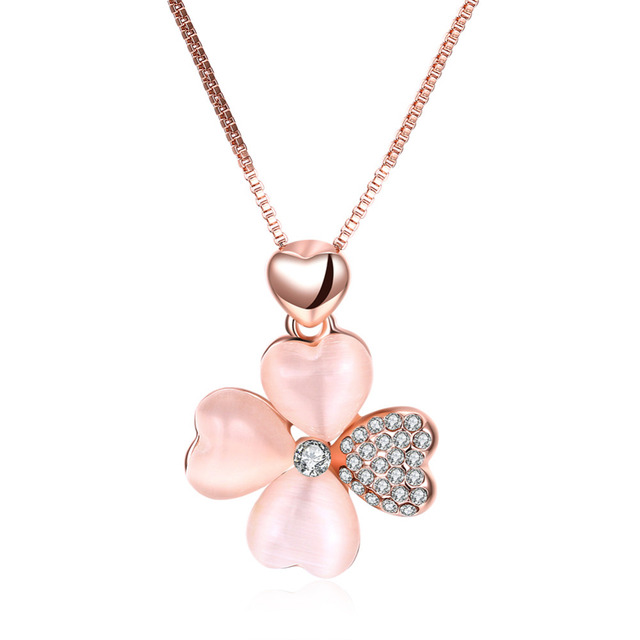 2017 simple clover design rose gold pendant necklace women snake 2017 simple clover design rose gold pendant necklace women snake chain for girls gifts wedding big mozeypictures Image collections