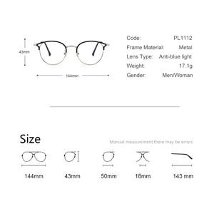 Image 4 - Hot Sale Retro Cat Eyes Glasses Frame Anti Blue Light Men Women Flat Mirror Metal Optical Eyeglasses Frame for Women PL1112
