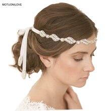 Женская повязка на голову с кристаллами 30 см