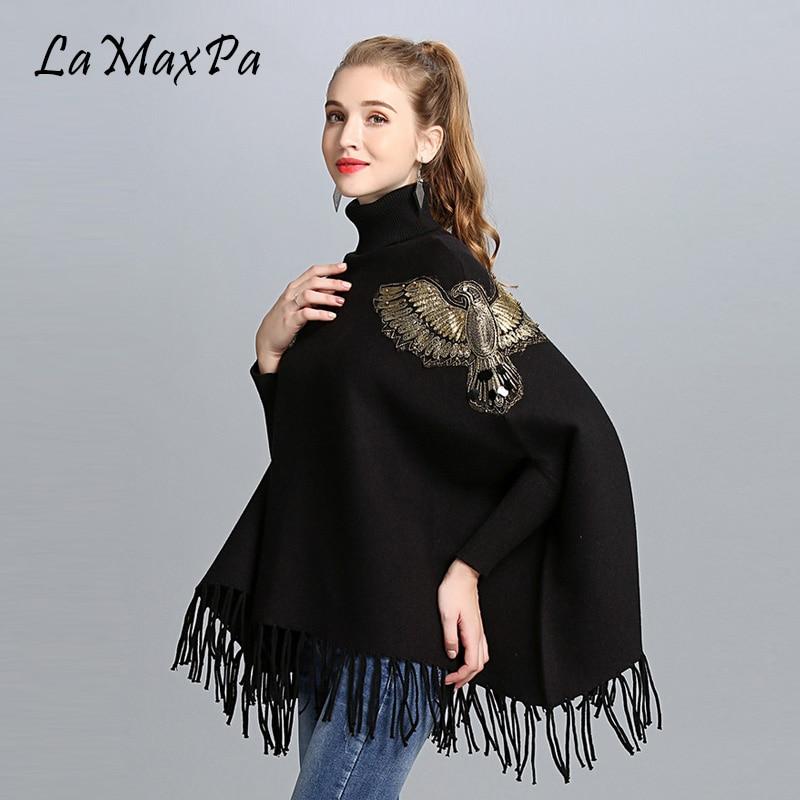 LaMaxPa dame de luxe or aigle châles avec gland chandail châle Poncho étoles Femme Pashmina Poncho Mujer Falso Pelaje Chaqueta