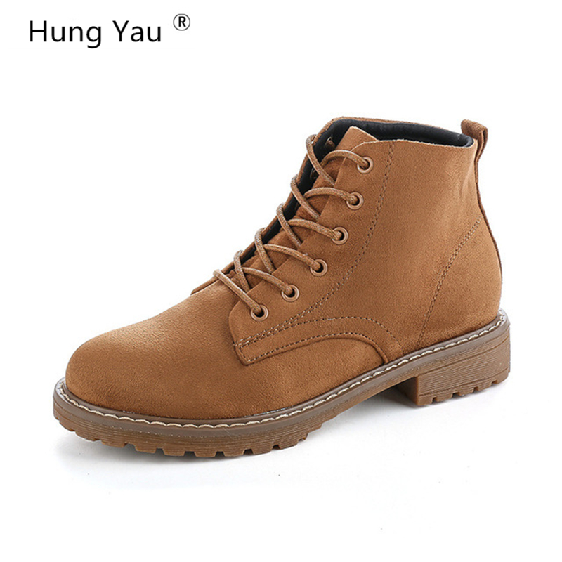 Hung Yau Women Casual Martin Boots Women Ankle Leather Classic Warm Boots Female Shoes 2017 Autumn Winter New Shoes Size US 8 autumn and winter new leather shoes with leather boots and boots with flat boots british classic classic hot wild casual shoes