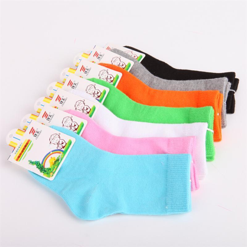 Children Cotton Socks For Girls Cute Candy Color Short Socks 2016 Autumn Winter Boy White Sport Socks Kid Black Socks 5pairs/lot