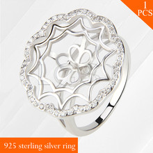 LGSY shining Flower Star with zircons multiple size 925 sterling silver ring accessory with pearl seat for DIY rings jewelry