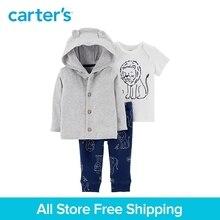 3pcs soft cotton lion print 3D ears button-up cardigan set Carter's baby boy spring autumn clothing 126H652