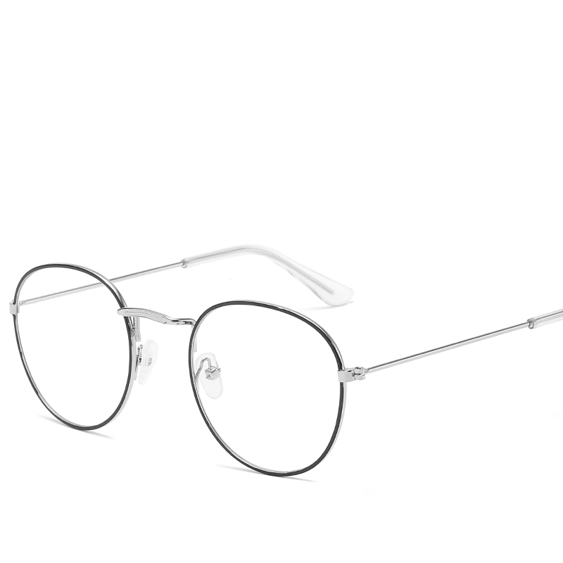 Korean New Metal Pattern Side Frame Glasses Art Harajuku Round Flat Mirror Version Of Men And Women Eye Glasses